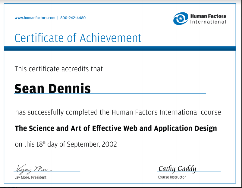 HFI Certificate - Web and Application Design